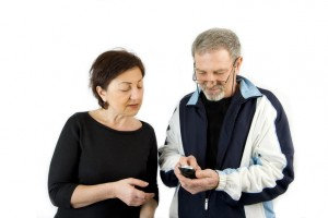 Couple checking the Text Message on the Phone